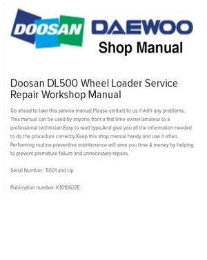 Doosan Dl500 Wheel Loader Service Repair Workshop Manual