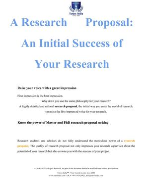 A Research Proposal An Success Of Your Research
