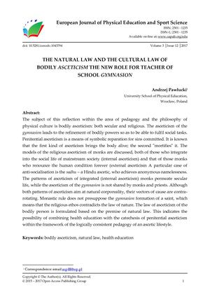 THE NATURAL LAW AND THE CULTURAL LAW OF  BODILY ASCETICISM THE NEW ROLE FOR TEACHER OF  SCHOOL GYMNASION