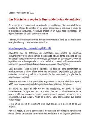 Calaméo La Metastasis Según La Nueva Medicina Germánica