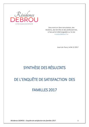 Analyse Questionnaire Satisfaction Famille 2017 Du 05 D́ecembre 2017