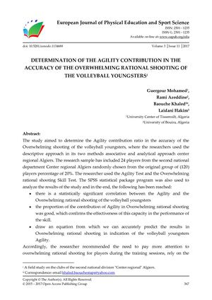 DETERMINATION OF THE AGILITY CONTRIBUTION IN THE ACCURACY OF THE OVERWHELMING RATIONAL SHOOTING OF THE VOLLEYBALL YOUNGSTERS