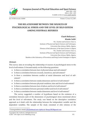 THE RELATIONSHIP BETWEEN THE SOURCES OF PSYCHOLOGICAL STRESS AND THE LEVEL OF SELF-ESTEEM AMONG FOOTBALL REFEREES