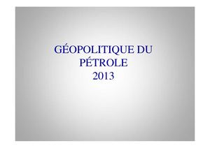 Geopolitique Du Petrole 12 Mars 2013 L1