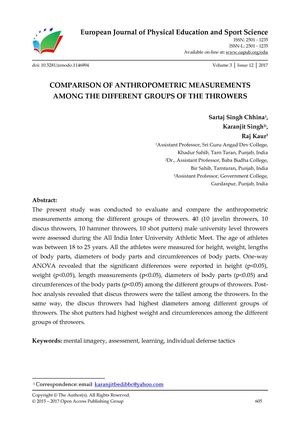 COMPARISON OF ANTHROPOMETRIC MEASUREMENTS  AMONG THE DIFFERENT GROUPS OF THE THROWERS