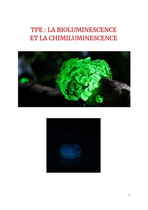 TPE La Bioluminescence et la Chimiluminescence