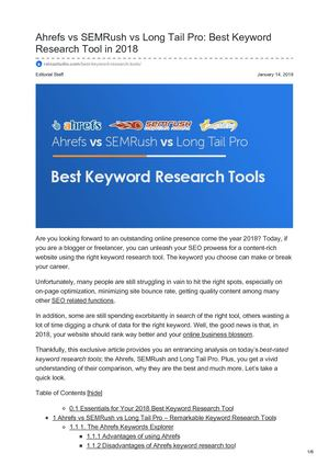 Rainastudio Com Ahrefs Vs SEMRush Vs Long Tail Pro Best Keyword Research Tool In 2018