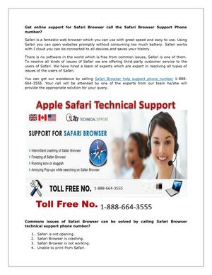+1-888-664-3555 | Safari Browser Technical support number USA