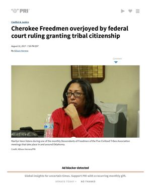 Cherokee Freedmen Overjoyed By Federal Court Ruling Granting Tribal Citizenship _ Public Radio International