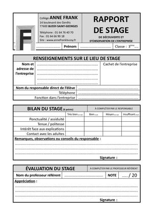Trame Rapport De Stage