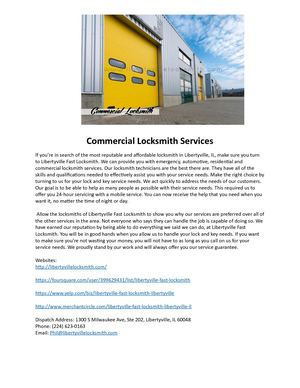 Commercial Locksmith Services - Libertyville Fast Locksmith