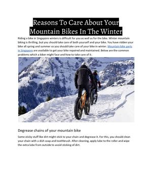 Reasons To Care About Your Mountain Bikes In The Winter