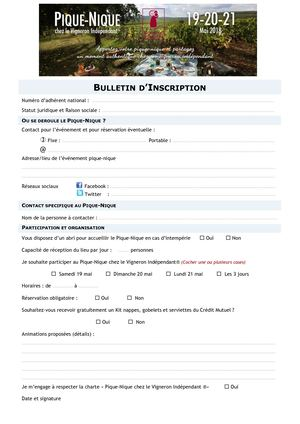 Pn18 Bulletin D'inscription