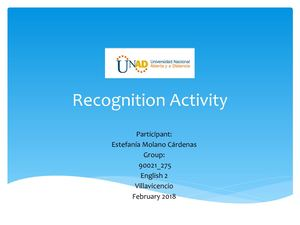 Recognition Activity