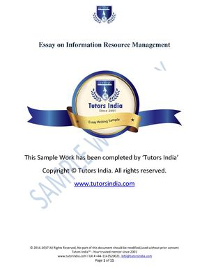 Essay writing Information Resource Management- Tutors India