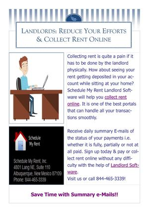 Landlords - Reduce Your Efforts & Collect Rent Online