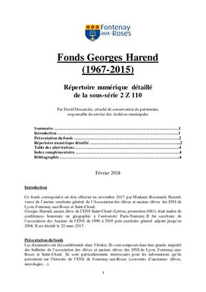 2 Z 110 Fonds Georges Harend