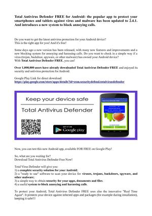 Total Antivirus Defender FREE for Android: a new version 2.4.1 for protection against virus malware and annoying calls.