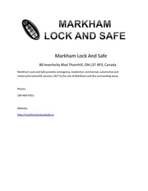 Markham Lock And Safe
