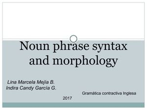 Noun Phrase Syntax And Morphology