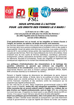 Appel Intersyndical Loire 08 Mars Femmes