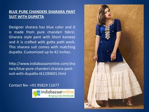 Blue Pure Chanderi Sharara Pant Suit With Dupatta