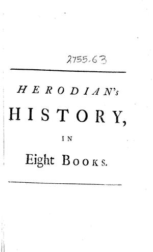 Herodians History Of His Own Times Or Of The Roman Empire After Marcus Translated Into English1749