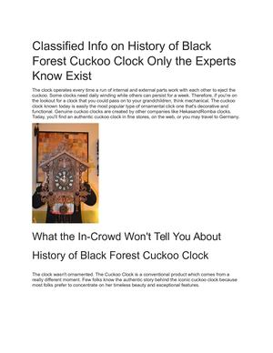 History Of Black Forest Cuckoo Clock