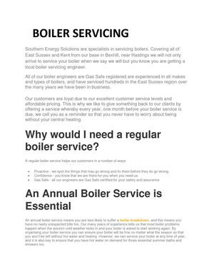 Boiler Servicing Southern Energy Solutions