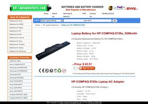Laptop Battery for HP COMPAQ 6720s