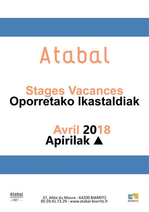 STAGES VACANCES ATABAL AVRIL 2018