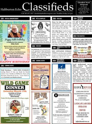 Classifieds March 13, 2018