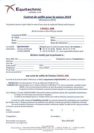 Casall Ask Contrat De Saillie 2018