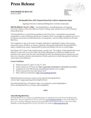 Howling Bird Press Press Release