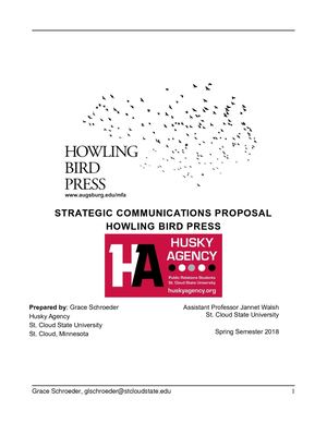 Howling Bird Press Strategic Communications Proposal