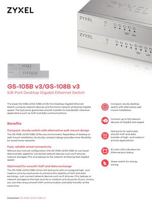 GS-108B v3  Switch Gigabit Ethernet para escritorio de 8 puertos
