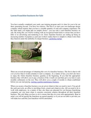 Lawns Franchise Business For Sale