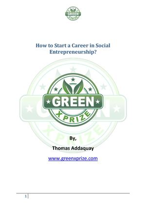 Start Career In Social Entrepreneurship