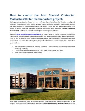 How To Choose The Best General Contractor Massachusetts For That Important Project
