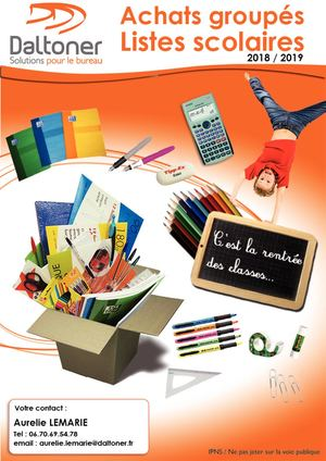 Catalogue Liste Scolaire 2018 - Contact Aurelie
