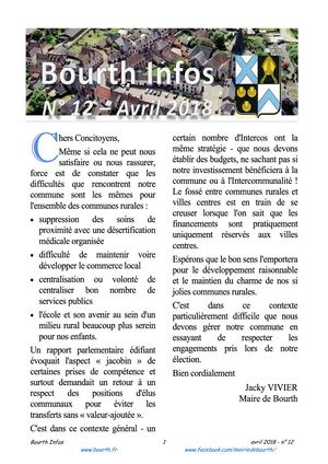 Bourth infos n° 12 - avril 2018