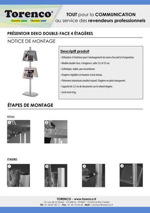 PRESENTOIR DEKO DOUBLE FACE 4 ETAGERES TORENCO