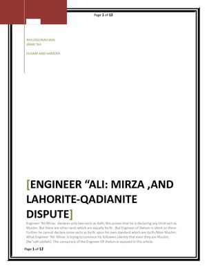 CRITICISM ON THE CONCEPTS OF KUFR AND KAFIR OF ENGINEER ALI MIRZA