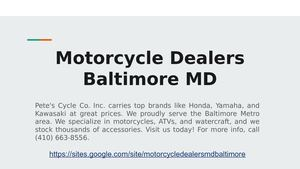 Motorcycle Dealers Baltimore, MD