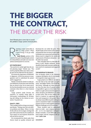 Lexia / The bigger the contract, the bigger the risk