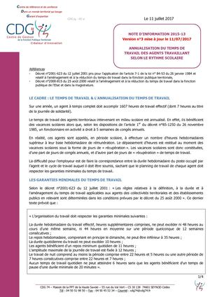Cdg 74note Info 2015 13 Temps De Travail Annualise Annee Scolaire Version 3