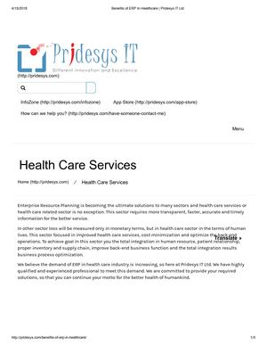 Benefits Of Erp In Healthcare Pridesys It Ltd