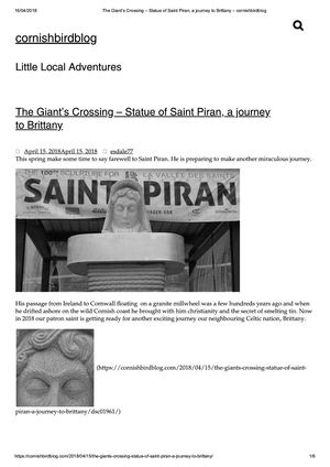 Cornishbirdblog (150418) The Giant's Crossing, Statue Of Saint Piran, A Journey To Brittany