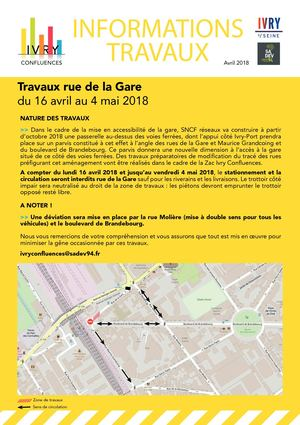 Flyer Travaux Rue De La Gare Avril 2018