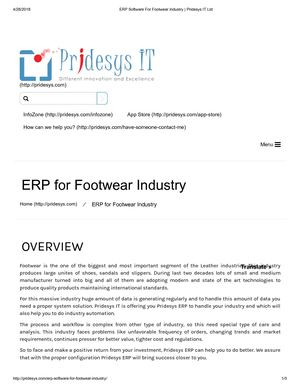 ERP Software For Footwear Industry | Pridesys IT Ltd
